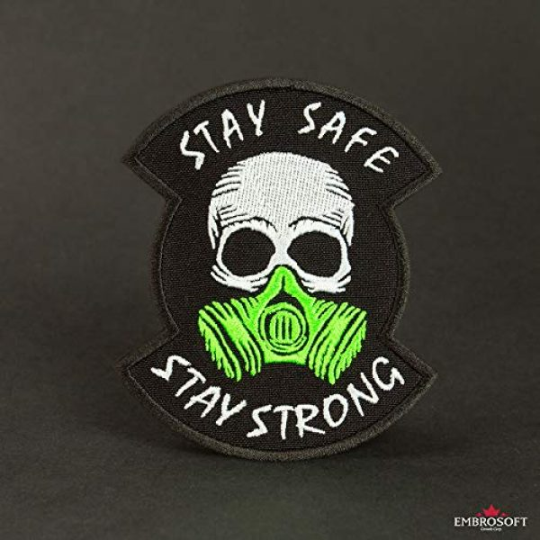 """Embrosoft Airsoft Morale Patch 2 Skull in a Gas mask Patch, Embroidered""""Stay Safe, Stay Strong"""" Morale Emblem, Size: 4.1 x 3.4 inches"""