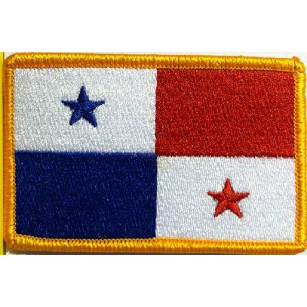Fast Service Designs Airsoft Morale Patch 1 Panama Flag Patch with Hook & Loop Tactical Travel Morale Gold Border MC Biker Shoulder Emblem