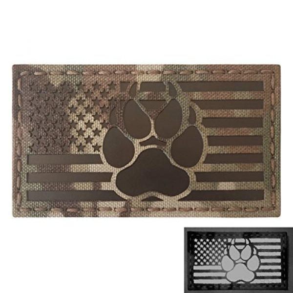 Tactical Freaky Airsoft Morale Patch 1 IR Multicam Infrared USA Flag K9 Dog Handler Paw K-9 Tactical Morale Fastener Patch