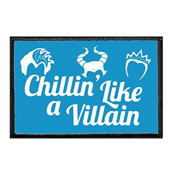 P PULLPATCH Airsoft Morale Patch 1 Chillin' Like A Villain Blue Morale Patch   Hook and Loop Attach for Hats, Jeans, Vest, Coat   2x3 in   by Pull Patch
