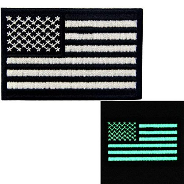 EmbTao Airsoft Morale Patch 2 EmbTao Glow in Dark Tactical Embroidered USA Flag Iron On Sew On Patch - Black & White