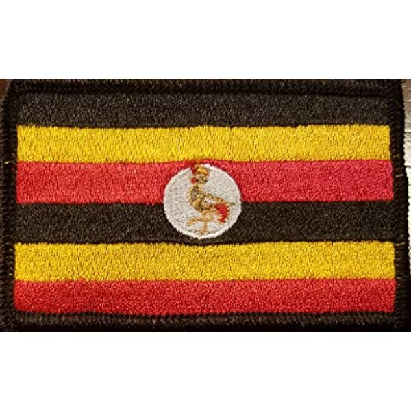 Fast Service Designs Airsoft Morale Patch 1 Uganda Flag Iron-On Embroidered Applique Patch Tactical Morale Travel Patriotic Africa African Emblem Black Border