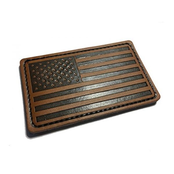 """Empire Tactical USA Airsoft Morale Patch 1 Forward 3"""" X 2"""" Genuine Leather American Flag (hook/loop) Morale patch"""