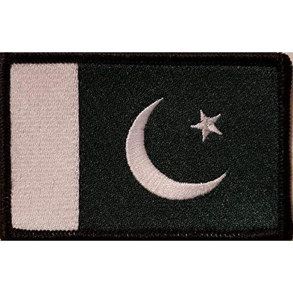 Fast Service Designs Airsoft Morale Patch 1 Pakistan Flag Embroidered Patch with Hook & Loop Morale Tactical Travel Emblem Black Border