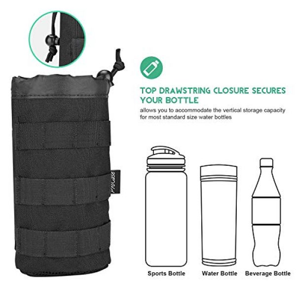 ProCase Tactical Pouch 3 ProCase Tactical Molle Water Bottle Pouch Bundle with Water Bottle Pouch with Extra Accessory Pouch and Detachable Shoulder Strap