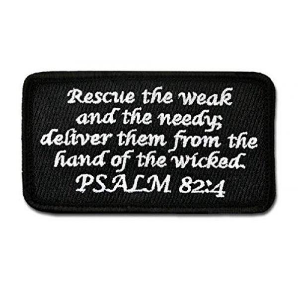 BASTION Airsoft Morale Patch 1 BASTION Morale Patches (Psalm 82:4, Black)   3D Embroidered Patches with Hook & Loop Fastener Backing   Well-Made Clean Stitching   Christian Patches Ideal for Tactical Bag, Hats & Vest