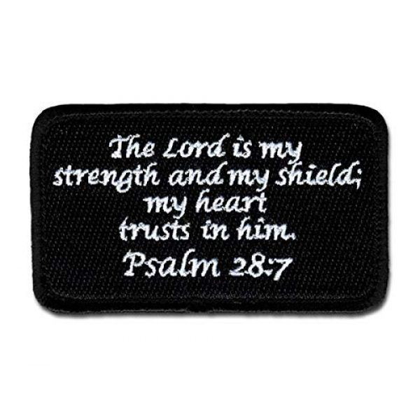 BASTION Airsoft Morale Patch 1 BASTION Morale Patches (Psalm 28:7, Black) | 3D Embroidered Patches with Hook & Loop Fastener Backing | Well-Made Clean Stitching | Christian Patches Ideal for Tactical Bag, Hats & Vest