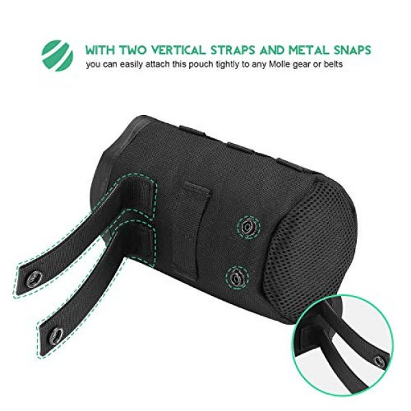 ProCase Tactical Pouch 4 ProCase Tactical Molle Water Bottle Pouch, Military Bottle Holder with Top Drawstring & Mesh Bottom, Portable Water Container Pouch Bag Hydration Carrier for Camping Hiking Hunting Traveling -Black