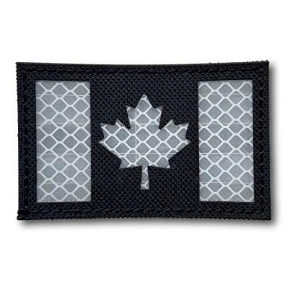 """Backwoods Barnaby Airsoft Morale Patch 1 Canada Flag Reflective Morale Patch with Hook & Loop (Black/White, 2"""" x 3.25"""")"""