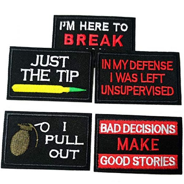 KQ Airsoft Morale Patch 2 KQ 20pcs Funny Tactical Morale Patches Cool Military Word Sew On/Iron On Patches for Vests Caps Bags Jackets Jeans Backpacks Full Embroidered Patch Set(BLack-pc-20)