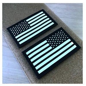 Hannah Fit Airsoft Morale Patch 1 2x3.5 Black White Glow in Dark US USA American Flag Tactical Patches Forward and Reversed (1 Left + 1 Right)