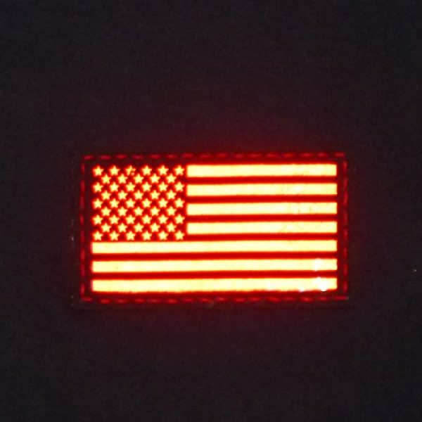 Tactical Freaky Airsoft Morale Patch 2 Reflective Red 3.5x2 USA American Flag Tactical Morale Uniform Fastener Patch