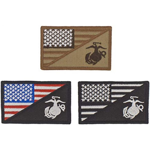 """USA Team Airsoft Morale Patch 1 Set of 3 Patch USMC Marine Corps Military Patches Hook & Loop American Flag Patch US Army Hat Military Tactical Morale Badge 3"""" x 2"""""""