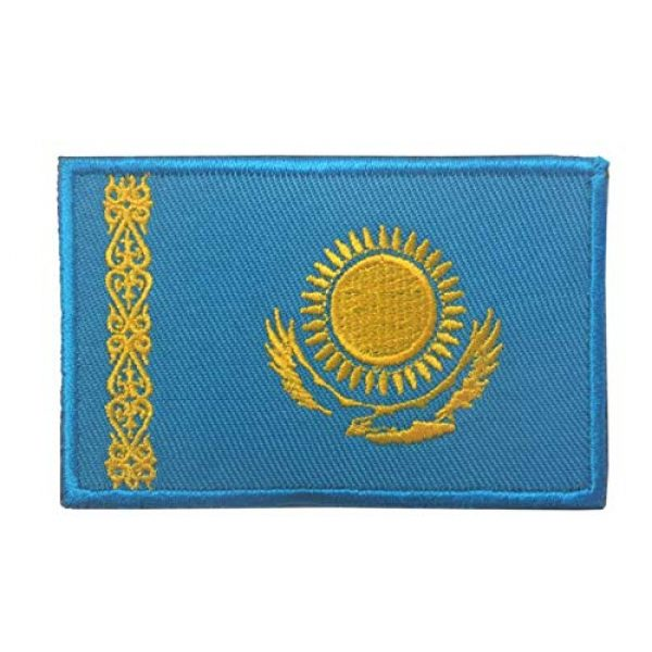 Tactical Embroidery Patch Airsoft Morale Patch 2 2pcs Kazakhstan Flag Embroidery Patch Military Tactical Morale Patch Badges Emblem Applique Hook Patches for Clothes Backpack Accessories
