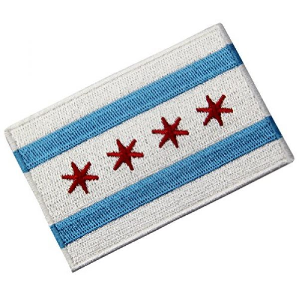 EmbTao Airsoft Morale Patch 4 Chicago City Flag Embroidered Iron On Sew On Illinois Patch