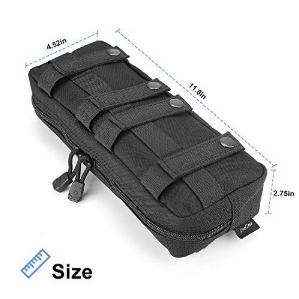 ProCase Tactical Pouch 2 ProCase Tactical Admin Pouch, Versatile Molle Admin Pouch EDC Carry Bag Multi-Purpose Tool Holder for Magazine, Map and Other Small Tools -Black