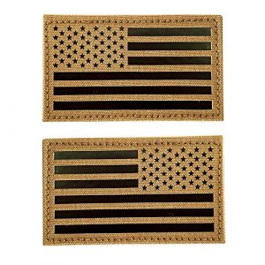 """Hannah Fit Airsoft Morale Patch 1 2x3.5"""" Infrared IR US USA American Flag Patch Tactical Vest Patch Hook-Fastener Backing(1 Left + 1 Right (Coyote Brown Tan)"""