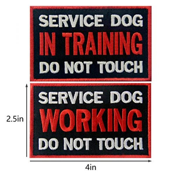 TailWag Planet Airsoft Morale Patch 2 Service Dog in Training Working No Touch PTSD Do Not Distract Vest/Harnesses Tactical Morale Patch Embroidered Badge Fastener Hook & Loop Emblem, 6 Pcs