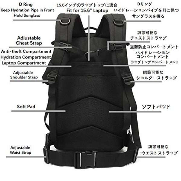 ATBP Tactical Pouch 3 ATBP Military Tactical Molle Rucksack Backpack 40L Hunting Travel Hiking Daypack Backpacking Packs Army College Bookbag (Jungle Digital +D)