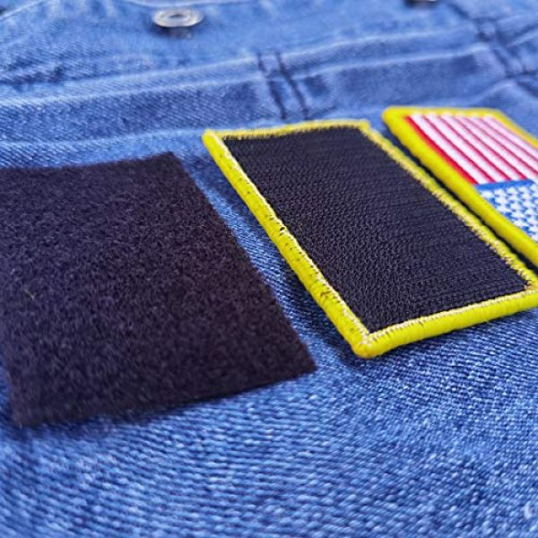 EtherealKiller Airsoft Morale Patch 7 American Flag Velcro Patches, 4pcs Gold Border US Flag Hook and Loop Emblems for Backpacks, Caps, Hats, Jackets, Pants