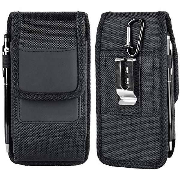 Aatacas Tactical Pouch 1 Tactical Carrier with [Belt Loop & Holster] Heavy Duty Rugged Nylon Carrying Case Pouch Phone Holder Belt Case with Clip, Fits Cell Phone with Thin Case On