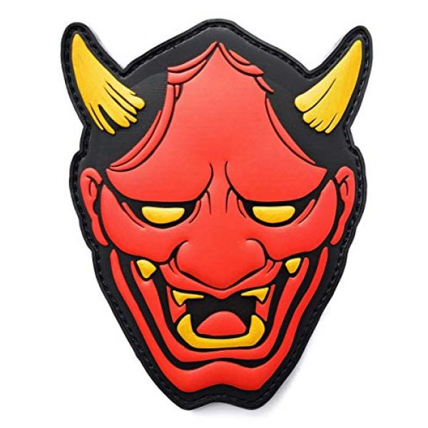 """Generic Airsoft Morale Patch 1 Generic PVC Red Hannya Mask Morale Tactical Patch with Hook and Loop backing, 4"""" tall"""