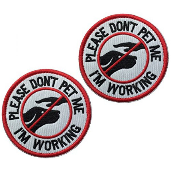 U-LIAN Airsoft Morale Patch 1 U-LIAN 2 Pcs Service Dog Working Do Not Touch Tactical Morale Patch for Dog Vest Harness with Hook Loop Fastener - Please Do Not Pet Me I'm Working Badge