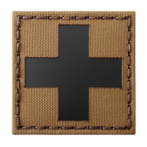 Tactical Freaky Airsoft Morale Patch 1 Red Cross Coyote Brown Tan Infrared IR MED Medical EMS EMT 2x2 Tactical Morale Touch Fastener Patch