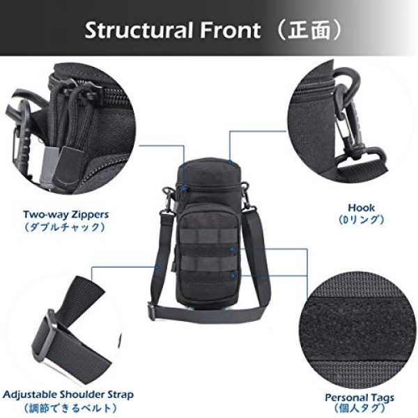 Azarxis Tactical Pouch 3 Azarxis Water Bottle Pouch Holder, Tactical MOLLE Hydration Carrier Bag Sling Case with Extra Accessory Pouch and Detachable Shoulder Strap for Backpack Camping Travel Outdoor Activities