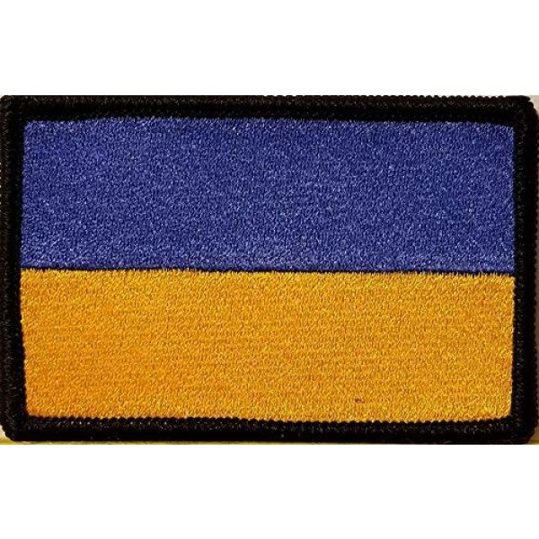 Fast Service Designs Airsoft Morale Patch 1 Ukraine Flag Embroidered Patch with Hook & Loop Morale Tactical Travel Emblem Black Border