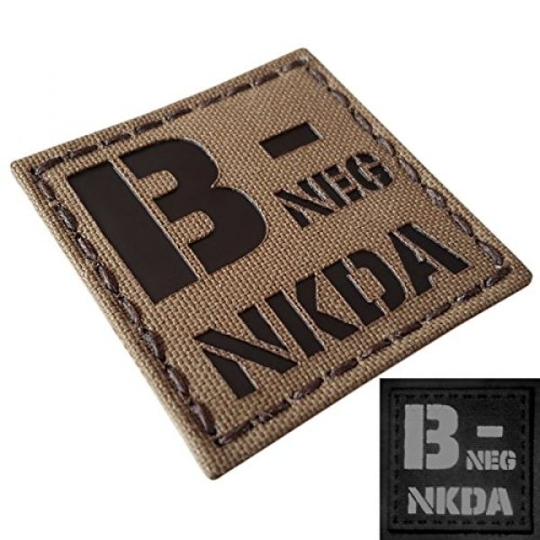 Tactical Freaky Airsoft Morale Patch 3 Coyote Brown Tan Infrared IR BNEG NKDA B- Blood Type 2x2 Tactical Morale Touch Fastener Patch