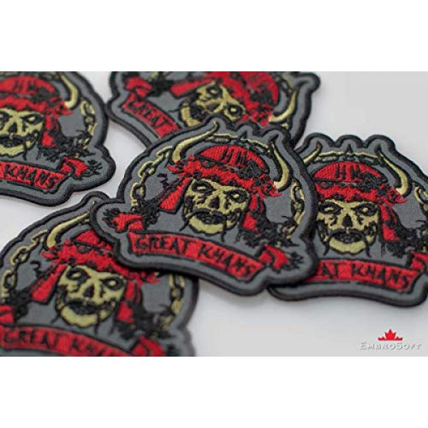 """Embrosoft Airsoft Morale Patch 4 Fallout New Vegas Great Khans Gang Emblem Embroidered Patch Iron On (3.5"""" x 3.3"""")"""