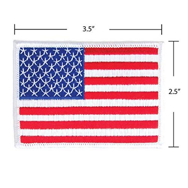 WAYDA Airsoft Morale Patch 3 WAYDA 4Pack American Flag Patch, Iron On or Sew On Uniform Emblem, American Flag Morale Hook Patch (10)