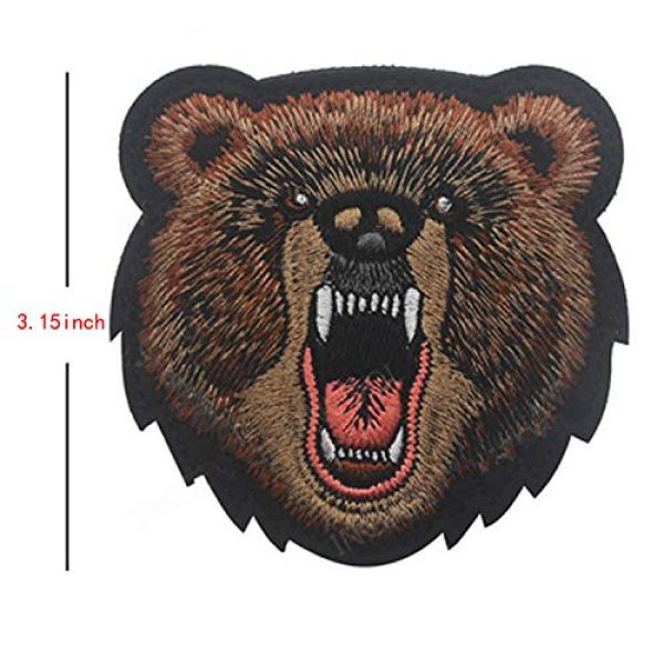 LanXin Airsoft Morale Patch 3 Tiger Bear Wolf Embroidery Patch Animal Military Morale Patches Tactical Combat Emblem Applique Embroidered Badges Hook and Loop Fasteners Backing Patches