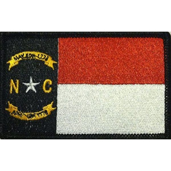 Fast Service Designs Airsoft Morale Patch 1 North Carolina State Flag Patch with Hook & Loop MC Biker Tactical Morale Emblem #02 (Black, White & RED. Black Border)