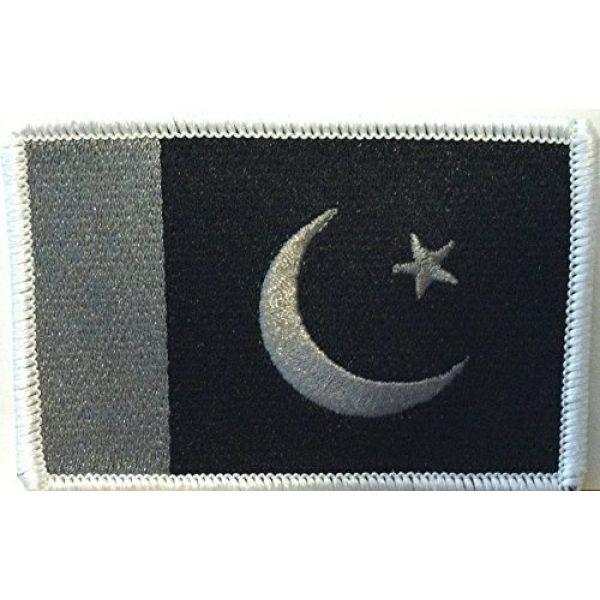 Fast Service Designs Airsoft Morale Patch 1 PAKISTAN Flag Iron-on Patch Morale Emblem Black & Gray Version. White Border #07