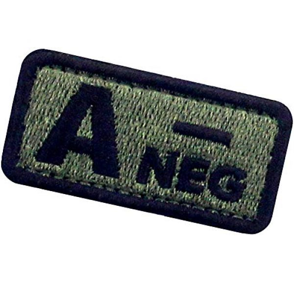 """EmbTao Airsoft Morale Patch 4 EmbTao Type A Negative Tactical Blood Type Patch Embroidered Morale Applique Fastener Hook & Loop Emblem - Green & Black - 2""""x1"""""""