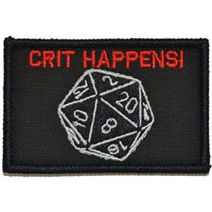 Tactical Gear Junkie Airsoft Morale Patch 1 Crit Happens, Tabletop Game Dice Patch 2x3 Patch - Multiple Color Options (Black with Red)