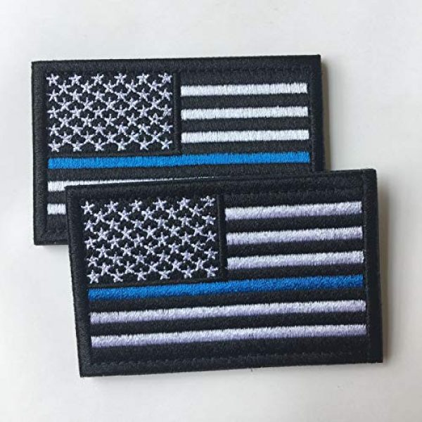 Hng Kiang Hu Airsoft Morale Patch 3 Bundle 2 Pieces-Tactical Police Law Enforcement Thin Blue Line American Flag US United States of America Military Morale Patches (Black-Blue Thin)