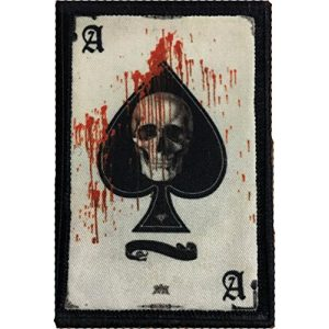 "RedheadedTshirts Airsoft Morale Patch 1 Ace of Spades Death Card Morale Patch. Perfect for your Tactical Military Army Gear, Backpack, Operator Baseball Cap, Plate Carrier or Vest. 2x3"" Hook and Loop Patch. Made in the USA"