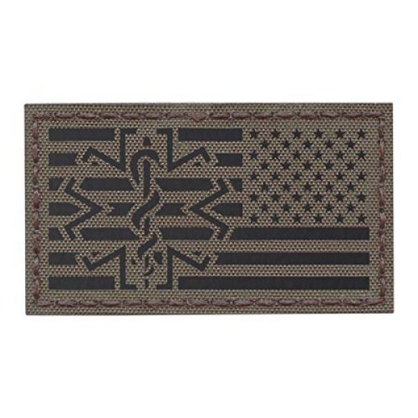 Tactical Freaky Airsoft Morale Patch 1 IR Ranger Green USA American Reversed Flag EMS Star of Life Right Arm Medic Paramedic 2x3.5 Tactical Morale Touch Fastener Patch
