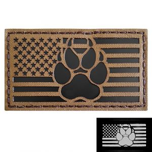Tactical Freaky Airsoft Morale Patch 1 IR Coyote Brown Tan Infrared USA Flag K9 Dog Handler Paw K-9 Tactical Morale Hook&Loop Patch