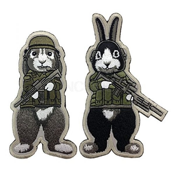 Unknown Airsoft Morale Patch 2 Patches 3D Tactical Military Rabbit Dog Embroidery Patch Morale Patches Emblem Badges Appliques Combat Embroidered Patches for Clothing - (Color: Dog)