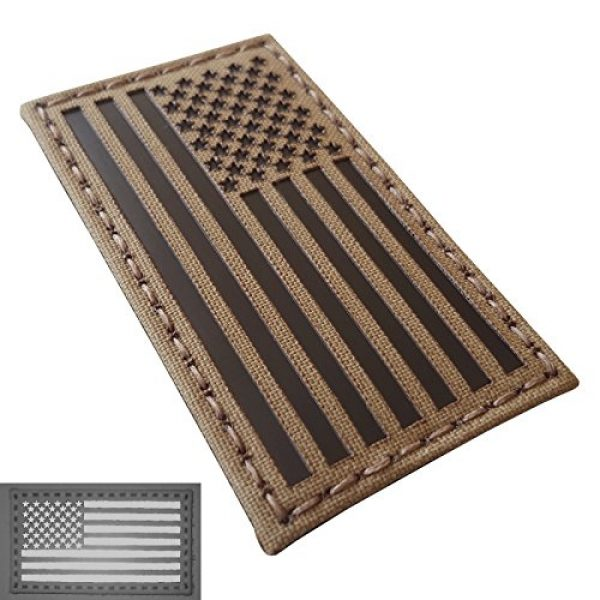Tactical Freaky Airsoft Morale Patch 3 Coyote Brown Tan Infrared IR USA American Flag 3.5x2 IFF Tactical Morale Touch Fastener Patch