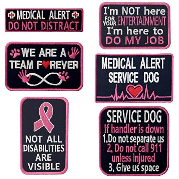 TailWag Planet Airsoft Morale Patch 1 Service Dog Medical Not All Disabilities are Visible Alert Vest/Harnesses Tactical Morale Patch Embroidered Badge Fastener Hook & Loop Emblem, 6 Pcs, Pink