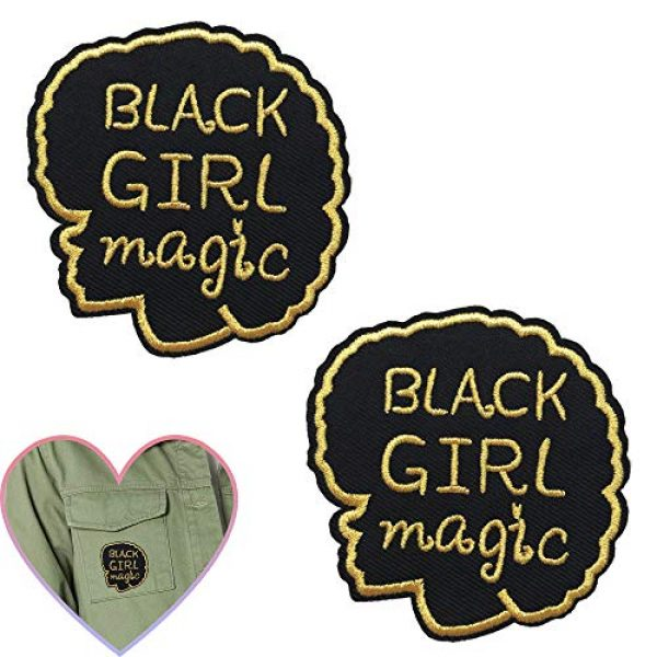EZWOO Airsoft Morale Patch 1 Embroidery Patches, Black Girl Magic Iron on Large Patches for Clothing Repair Backpack Jeans, Black Lives Matter, 2PCS