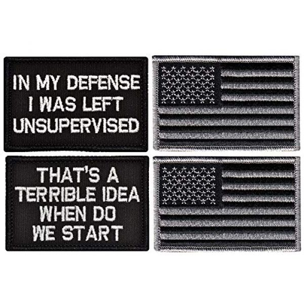 Ebateck Airsoft Morale Patch 1 Ebateck in My Defense I was Left Unsupervised Patch Small & American Us Flag, 4 Pack, Embroidered Morale Tactical Patches Funny for Hat Backpack Jackets Hook & Loop Emblem, Black Color