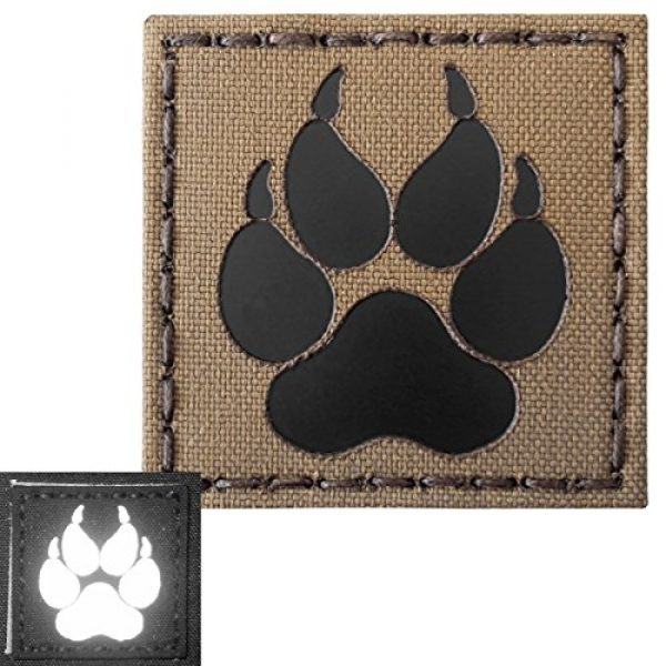 Tactical Freaky Airsoft Morale Patch 4 Coyote Brown Tan Infrared IR K9 Dog Handler Paw K-9 2x2 Tactical Morale Touch Fastener Patch