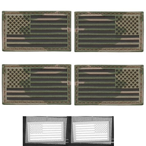Tactical Freaky Airsoft Morale Patch 1 Bundle Set of 4 Multicam Infrared IR USA American Flags Forward and Reversed 3.5x2 Morale Fastener Patches