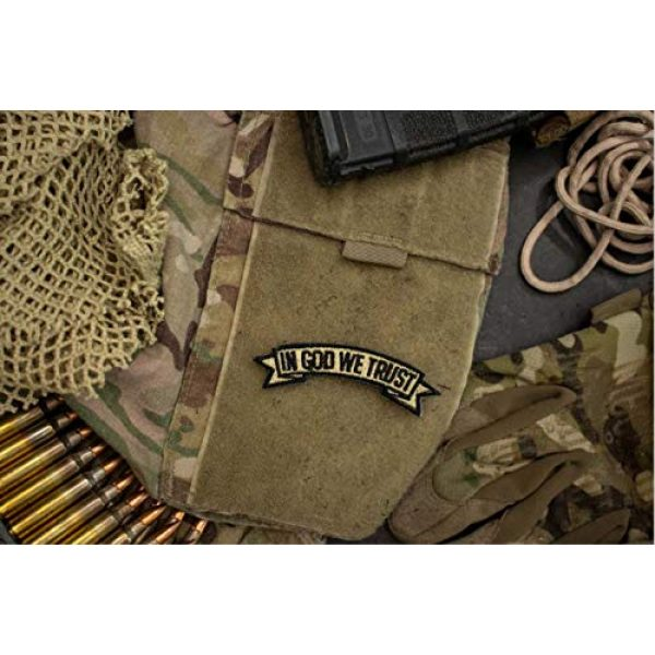 BASTION Airsoft Morale Patch 2 BASTION Morale Patches (in God We Trust, Tan)   3D Embroidered Patches with Hook & Loop Fastener Backing   Well-Made Clean Stitching   Christian Patches for Tactical Bag, Hats & Vest